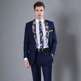 navy blue skinny suit 2019 - Fashion Men's Suit Fashion High-Grade Navy Blue Suit Casual Slim Dance Men's Print (Jacket + Pants) Ternos Par