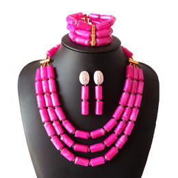 dubai jewelry sets Canada - Latest Pink Nigerian Coral Jewellery Set Fashion Bridal African Wedding Jewelry Set Dubai Wedding Jewelry Set for Women Free Shipping