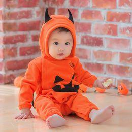 Hooded onesies costume online shopping - Baby Kids Fleece winter romper Halloween pumpkin robes cute jumpsuit Children Onesies Infant One piece Cosplay costumes Clothing