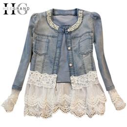$enCountryForm.capitalKeyWord Canada - Wholesale-HEE GRAND Jeans Jacket Women Casacos Feminino Slim Lace Patchwork Beading Denim Lady Elegant Vintage Jackets Coat DropshipWWJ084