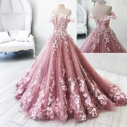 Orange cOral cOlOr online shopping - Real Photos Butterfly Flowers Appliques Ball Gown Masquerade Quinceanera Dresses Off Shoulder Backless Floor Length Sweet Pageant Gowns