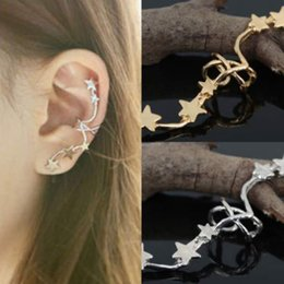 star piercings Australia - 1pc Fashion Silver Gold Star Ear Bone Clip On Ear Cuff Earrings No Pierce Left