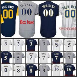 2018 Men Milwaukee 3 Orlando Arcia 5 Jonathan Villar 6 Lorenzo Cain 7 Eric  Thames 8 Ryan Braun Flex Base Custom baseball Jersey 5a9b5b77e
