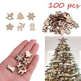 $enCountryForm.capitalKeyWord NZ - 100pcs Natural wooden Christmas tree Hanging Ornaments Pendant Gifts Tree Snow Flakes Table Bottle DIY Decoration