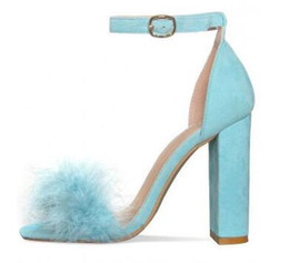 High Heels Sandals Photos UK - 2018 Sexy Thick Heels Fur Sandals For Women Ankle Strap Buckle Chunky Heels Summer Dress Shoes Cut-out High Heels Pumps Real Photo