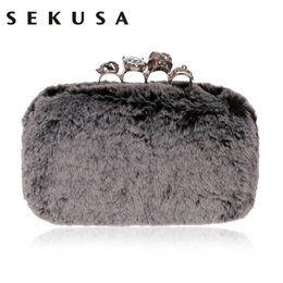 handbag dinner party 2019 - SEKUSA Fur Women Clutch Evening Bag Diamonds Metal Skull Fashion Ladies Purse Bag Chain Shoulder Handbags For Party Dinn