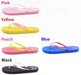 5fad09cc2009 Summer Sandals Girls Love Pink Flip Flops Pink Letter Beach Slippers Shoes  Women Soft Sandalias VS Casual Rubber Sandals