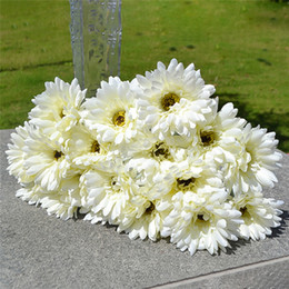 Plastic for bouquets online shopping - 10pcs Gerbera Daisy Artificial Flower For Decoration Silk Sunflower Bouquet Flowers Wedding Garden Home Party Decor