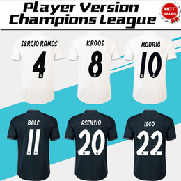 d0b548d6f5e 2019 Champions League Player Version Soccer Jersey 18 19 Real Madrid Home  Soccer shirt  7 RONALDO  8 KROOS  22 ISCO Football uniform