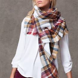 oversize plaid scarf 2018 - Fashion hot women scarf Plaid Oversize blanket Winter cashmere Square shawl Size 140cm X 140cm Wholesale discount oversi