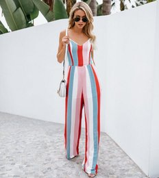 Women Jumpsuit Romper Playsuit Australia - Women Jumpsuit Clubwear Playsuit Bodysuit Party Striped Sleeveless Backless Jumpsuit Romper Chiffon Long Trousers