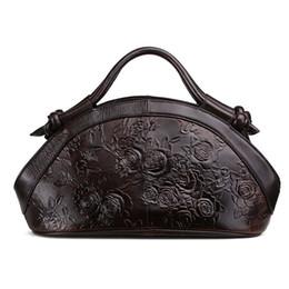 $enCountryForm.capitalKeyWord Australia - Genuine Leather Cowhide Embossed Leather Handbag Rose Pattern Tote Bag Women Shoulder Crossbody Messenger Bags Handbags