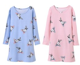 2018 pajamas for girls Girls Easter Bunny Long sleeve Pajamas Nightgowns Dress 100% Cotton for 3-12T Girls Rabbit Cartoon Cotton Dress cheap pa