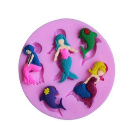 MerMaid cake online shopping - 3D Silicone Fondant Cake Mould Non Stick Mermaid Model Mold For Home Soft Round Baking Tools Pink dy B