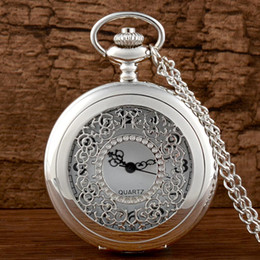 pocket watch chain silver NZ - New Arrivals Silver Hollow Quartz Pocket Watch with Chain Retro Men Women Classic Pendant Necklace Clock Gift