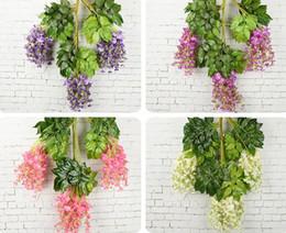 $enCountryForm.capitalKeyWord Australia - 7 Colors Elegant Artificial Silk Flower Wisteria Flower Vine Rattan For Garden Home Wedding Decoration Supplies 75cm and 110cm ePacket Free