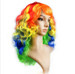 Wholesale women Anime Cosplay long Wigs Multicolor Cheap Synthetic Hair Wig Cosplay Colored Costume ladies dress Deep Wave Wigs For Party club night
