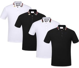 Striped tShirtS online shopping - Brand New Spring Summer autumn men casual polo shirt t shirts men polo tshirts snake bee embroidery High street mens polos t shirt