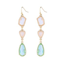 Gold earrinGs style online shopping - Summer Style Crystal Drop Earrings K Gold Plated Multi Color Gemstone Accessories Fashion Charms Jewelry For Women Gifts New