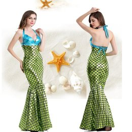 New Fashion Princess Ladies Halloween cosplay Costume Fancy Party Sequins  Maxi Tail long green Skirt adult Little Mermaid costumes For Wome 2378a47cd980