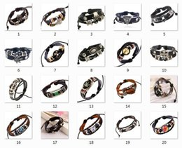 style bracelet alloy 2019 - 2018 hot sales 20 style selection Genuine Leather Beads love Cross Skull Time Gemstone Bracelets Men Women Charm Bracele