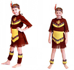 Discount indian costume kids - Girls kids Indian princess cosplay dress with headwear hunting costume stage show role play cosplay for party HC21