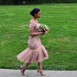 Wholesale African Dusty Pink Mermaid Bridesmaid Dresses Off The Shoulder Tea Length Short Plus Size Maid Of Honor Gowns Cheap