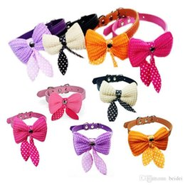 Discount knit dog collar - 1PCS Knit Bowknot Adjustable PU Leather Dog Puppy Accessories Pet Collars Necklace Collars For Dogs Collar Perro Size XS