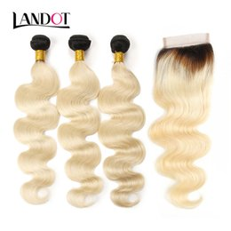 Discount 1b mixed hair extensions - 9A Ombre 1B 613# Color Blonde Lace Closures With 3 Bundles Brazilian Virgin Human Hair Weave Body Wave Peruvian Malaysia