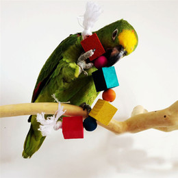 Chinese  Fun Parrot Supplies Birds Gnawing Block Toys With Cotton Rope Natural Wood Colorful Pet Climbing Chew Dental Toy 5 5jd Ww manufacturers
