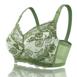 0ec0db0609d8a Oversized ultra-thin bra large full cup adjustable B C D E F G H 75-110  Comfortable Sexy lace bras Green underwear for women