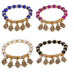 $enCountryForm.capitalKeyWord Australia - Hamsa Handmade Bead Bracelet Stretch Small Pendant Lucky Evil Eye Fatima Hand Pendant Elastic Band Men Women Jewelery