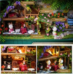 wood toy house wholesale Australia - DIY Doll Houses Countryside Notes 3D Wooden Handmade Box Theatre Dollhouse Miniature Box Cute Mini Dollhouse Assemble Kids Gift Toys