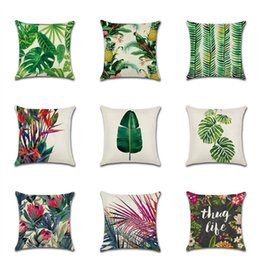Discount tropical print - Rainforest Leaves Africa Tropical Plants Linen Pillow Case Comfortable Chair Sofa Cushion Cover Household pillowcase T3I