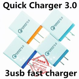 qualcomm tablets UK - [QC3.0+2USB ] Fast Wall Charger 3 Ports Tablet iPad Phone Charger Adapter Quick Charging Qualcomm Quick Charge For iPhone 7 8 X Samsung S9
