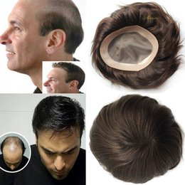 Discount human hair men - Stock Indian human hair men toupee Fine Mono base with NPU around Replacement Systerm 6x8 inch 7x9 8x10inch Human HairPi
