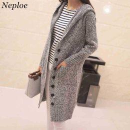 Design Women Hooded Coat Canada - Neploe Long Hooded Cardigan Woman Sweater Coat Autumn Winter Long Sleeve Knitwear Loose Solid Pocket Design Knitted Jacket 34287