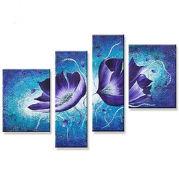 Discount modern abstract flower paintings - Modern Home Decor Wall Art 4 Piece Canvas Picture Hand-painted Abstract Floral Paintings Handmade Blue Lotus Flower Oil