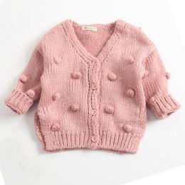 Cardigan Cotton Girls Australia - Fashion Girls Knit Cardigan Deep V Neck Cardigan Cotton Long Sleeve Cardigan Sweater for Girl 18092803