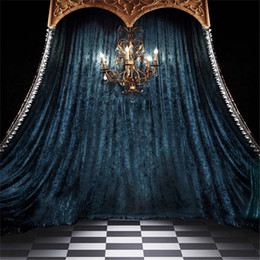 $enCountryForm.capitalKeyWord Canada - 8x12ft Steel Blue Curtain Drape Wedding Photo Background Indoor Chandelier Candles White Black Tiled Floors Studio Backdrops Photography