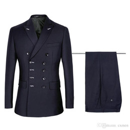 New Design Five Double-Breasted Navy Blue Groom Tuxedos Men Wedding Blazer High Quality Men Dinner Prom Business Suit((Jacket+Pants+Tie)1020