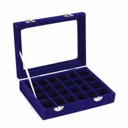 Black Shoe Boxes Wholesale UK - 24 Slots Velvet Women Desk Jewelry Storage Box Portable Ring Necklace Jewelry Carrying Case Women Home Storage Supplies 5 Colors