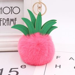 Discount cute car keychains 12PCS Wholesale Womens Cute Different Colors Pineapple Gold Plated Metal and Leather Keychain Bag Chain for Gift