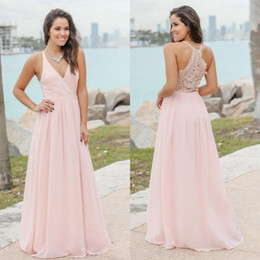 long bohemian prom dresses 2019 - Candy Pink Summer Bohemian Bridesmaid Dresses 2019 Sexy V Neck Lace Back A Line Chiffon Long Prom Guest Party Gowns BM01