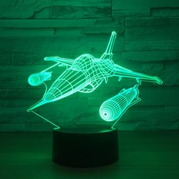 Batteries Usb Mouse Canada - Fighter Aircraft 3D Optical Illusion Lamp Night Light DC 5V USB Powered AA Battery Wholesale Dropshipping Free Shippin