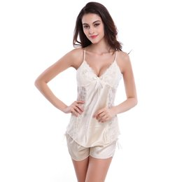 Women Sexy Silk Satin Pajama Set Lace Patchwork Pyjama Set Sleeveless Top  and Pants Two-pieces Sleepwear Summer Night Sleep Wear f465ac232