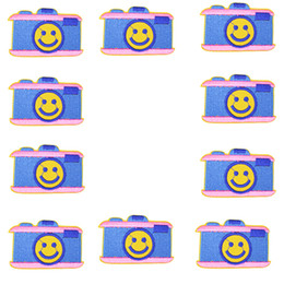 Cloth Patches Badges Australia - 10PCS Cartoon Smiley Camera Patches for Cloth Badges Sewing Embroidered Apparel Accessories Patches for Glue Stitchwork Clothing Patch Craft