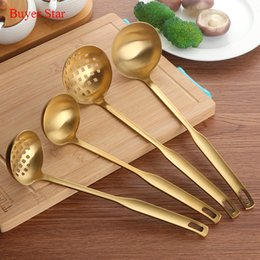 Skimmer tool online shopping - 2 Set Stainless Steel Cooking Tool Matt Polish Long Handle Soup Ladle Skimmer Golden Kitchen Accessories Y18110204
