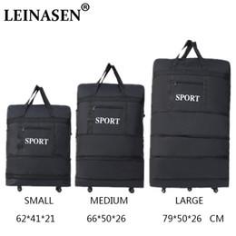 luggage wheels 2019 - 2018 LEINASEN wholesale ultra-light luggage travel bag large capacity universal wheels retractable folding tug box disco