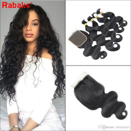 $enCountryForm.capitalKeyWord Australia - Brazilian Virgin Hair Bundles with Closure Body Wave 4 bundles Human Hair Extensions with 4x4 Top Lace Closure Rabake Quality Cheap Bundles